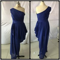 Wholesale Chiffon Grecian - Unique Design 2017 African American Grecian Bridesmaid Dresses One Shoulder Royal Blue Mermaid Long Formal Dresses for Women With Sash