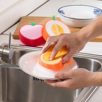 Wholesale Microfiber Sponge Cloth - 2017 Cleaning Pads Cute Fruit Shape Microfiber Sponge Scouring Pad Cleaning Cloth Strong Remove Stains Thickened Sponge Kitchen Tools