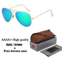 Wholesale Clear Aviator Glasses - AAAA+ Brand Designer Classic Aviator Sunglasses for Men Women Driving Sun glasses Metal Frame Flash UV400 Mirror Glass Lenses with cases