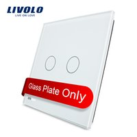 Livolo Luxury White Pearl Crystal Glass, 80mm * 80mm, standard de l'UE, Single Glass Panel pour 2 Gang Wall Touch Switch, VL-C7-C2-11