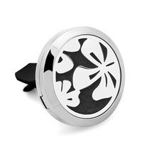 Wholesale Petal Car - 5PCS Petal 316L Stainless Steel Car Perfume Locket For 30MM Essential Oil Diffuser With Free Pads