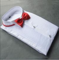 ingrosso le camicie lunghe del vestito dal collare-Camicia da sposo manica lunga in cotone bianco di alta qualità