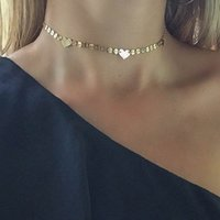 Novo design ajustável Lariat Choker Colar Gold Plated Sequins Discos Chain Thin Heart Chokers Necklace For Women
