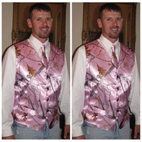 Pink Real Tree Camouflage Groom Vest 2017 Camo Vests Custom Camo Wedding Evening Prom Vest para homem com gravata Cheap Sale