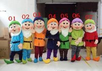 Wholesale Dwarf Mascot Costume Cartoon - Best price Snow White and the Seven Dwarfs Mascot costumes for Christmas Cartoon costumes Free shipping