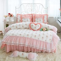 Wholesale Kids Bedroom Comforters - 2017 newest bed skirts bedding set printing Flower contton bedding set womens bedroom bedding for girls and kid