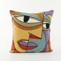 Wholesale Famous Chairs - abstract art cushion cover european famous painting sofa chair throw pillow case embroidered couch almofada canvas cojines