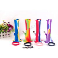 Wholesale Hookah Up - Luninous Silicone Bong Gel Water Pipe Hookahs 8.6 INCH Unbreakable Can be Rolled Up FDA Medical Grade Silicone