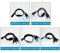 Wholesale Cord Cctv - 1 DC Female To 2 3 4 5 8 Male plug Power Cord 5.5x2.1mm Jack Connector adapter Cable Splitter For CCTV Security Camera LED Strip