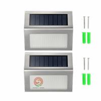 silikon ışıklar toptan satış-Güneş Işıkları LED Lambalar bahçe için güneş ışıkları IP44 2 Leds Dış Duvar ışıkImported tek kristal silikon güneş paneli ucuz ama güvenilir