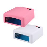 Wholesale Salon Manicure Tool Box - 2017 New 36W Nail Art UK Plug UV Lamp Gel Fast Cure Light Dryer 4pcs Bulbs Phototherapy Manicure Retail Box Tool Store Salon