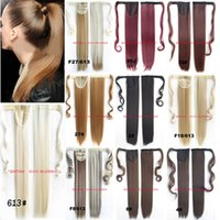 Grossiste-Synthétique Wrap Around Ponytail Clip In Sur les extensions de cheveux Invisible ruban HairPiece Pop Pony 12 couleurs Stright 24inches 100g
