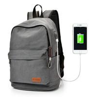 Wholesale Korean Shoulder Bag For Men - Brand New Travel Bags Casual Backpack for Computer Laptop Bag Usb Charge Canvas Backpack Shoulder Bag Male Backpack School