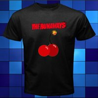 Wholesale Cherry Logo - New The Runaways Cherry Bomb Logo Joan Jett Black T-Shirt Size Cool O-Neck Tops Cotton Low Price Top Tee For Teen Girls