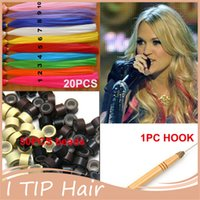 Wholesale Hair Extension Beads Synthetic - Wholesale-20pcs I Tip Hair Extensions+50 beads+1 hook 50g 16'40cm Women Ladies Sexy Grizzly Synthetic Ring Synthetic Loop Hair Piece