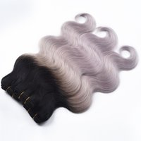 1B Grey Grey Cheveux Corps Wave 3 Pcs Lot Silver Grey Cheveux Extensions 7A Halo Lady Deux Tone Ombre Cheveux Bundles