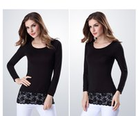 Wholesale Lace Undershirt Long Sleeve - Long-slevee Undershirts For Women Slim Modal Sweater Lace O-neck With Contract Soild Color Bottoming Shirt Free Shipping