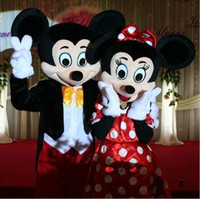 Wholesale Wholesalers Mascot Fancy Dress - Hot Helling Custom made High quality Adult Mickey Mouse And Minnie Mascot Costumes Halloween Outfit Fancy Dress Suit