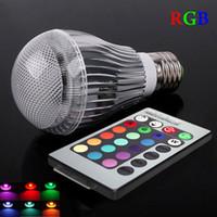 Wholesale spotlight bulb sale resale online - Hot Sale led spotlight W E27 E14 GU10 GU5 RGB Color Changing LED Globe Light Lamp Bulb AC90 V With Remote Control