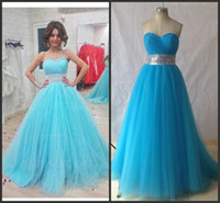 Wholesale Empire Bule Dress - Exposed Boning Bule Sweetheart Sleeveless Prom Dress Sweep Train Tulle Empire Modern A -Line Ball Gowns
