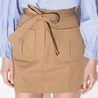 Wholesale Tie Wool Lining - ailora 2016 Spring dress Women Fashion OL Tie Front Skirt High Waist Pockets Wool&Blend A-line Skirts