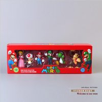 Wholesale Pvc Yoshi Donkey - Super Mario Bros Peach Toad Mario Luigi Yoshi Donkey Kong PVC Action Figure Toys Dolls 6pcs set New in Box