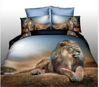 Wholesale Lion Print Bedding Set - HOT! 3D Home Textiles Active Printed Lion Panda pattern silk 100% cotton fashion comfortable quilt cover pillowcases bedding sets