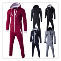 Wholesale Siamese Pants - Jogging Suits Men Spring&autumn Hoodies+pants Hit Color Stitching Mens Set of Head Siamese Tracksuits US Size:XS-L