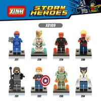 120pcs Mix Lot Super Heroes Série Minifig Iron Man Wolverine Capitaine Marve Capitaine Amérique XINH X0109 Mini Building Blocks Figures