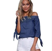 Wholesale Ladies Sexy Denim Shirts - Women Lady Sexy Off Shoulder Blouse Fashion Autumn Casual Tie Sleeve Denim Jeans bohemian beach Shirts Tops Blouse blusas femininas 2017 new
