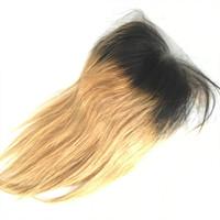 dunkle wurzeln blonde reine haare indisch großhandel-T1b 27 Dark Root Honig Blonde Ombre Seide Basis Schließung Gerade 4 * 4 Freies Mittel 3 Teil Brasilianische Peruanische Indische Malaysische Reine Menschenhaar
