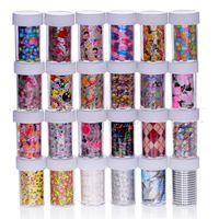 farbe klebeband großhandel-100 cm * 4 cm mischungsfarbe transferfolie nail art blume design aufkleber aufkleber für polnische pflege diy freies verschiffen