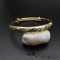 Wholesale 24k Bangle Dragon - New Fashion Bride Wedding Bracelet Bangles 24K Yellow Gold Plated Dragon Phoenix Bracelet Bangles for Girls Women Nice Gift