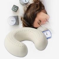 Wholesale Latex U Pillow - Wholesale- BeddingOutlet U-Shaped Travel Pillow Natural latex pillow Super Soft Head Rest Slow Rebound for Nap Health Care