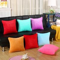 Wholesale Sofa Backrest - 43*43Cm Outdoor Pillows Backrest Pillow Cases Pillow Covers Living Room Sofa Fleece Pillows Case Pure Color Backrest Cushion Covers