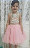 Sweet Kids Party Flower Girls Pink Nude in rilievo Una linea con cristalli Tea Length Bambino 2016 Glitz Gil Pageant Dresses Abiti di compleanno Israele
