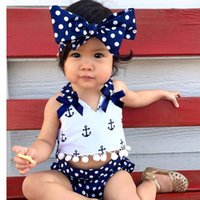 Wholesale Baby Girl Anchor Clothing - Wholesale- Cute Baby Girls Clothes Sets Anchors Bow Tops + Polka Dot Briefs + Head band 3pcs Sleeveless Outfits Set Baby Girl 0-24 Monthes