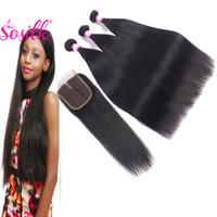 Wholesale Discount Remy Hair Bundles - So Silk Mink Brazilian Human Hair Bundles With 4X4 Virgin Lace Silk Base Closure Natural Discount Remy Hair Weaves 3 Pcs With Closure