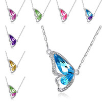 Wholesale dancing butterfly - New Crystal Dancing Butterfly Pendant Necklace Imitation Rhodium Plated Butterfly Pendants for Women Fashion Jewelry drop shipping 162243
