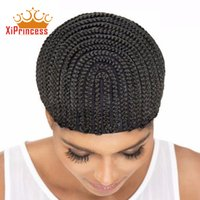 Wholesale crocheted wigs - 3pcs Hot Sale Braid Synthetic Wig Cap Cornrow Brading Wig Crochet Caps With S M L size