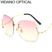 Wholesale Red Diamond Shape - New Arrival Vidano Optical High Quality Elegent Luxury Diamond Shape Sunglasses For Women Europe Classic Design Gradient UV400 Protection