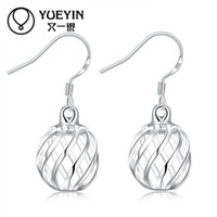 Wholesale Wholesale Silver Lanterns - Hollow Out Ball Drop Earrings Petty Hollow out ball lantern shape Bijoux Drop Earrings Women Sliver plated Long Earrings Brincos Jewelry