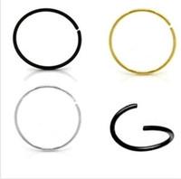 Wholesale Surgical Earrings Hoop - LOT100pcs boby jewelry 316L Surgical Steel 18GX6 8 10mm Nose Hoop Nose Rings Earring Body Piercing Jewelry