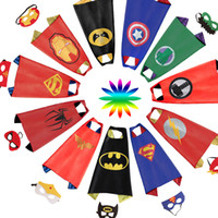 Wholesale Teenage Spiderman Costume - Double sides kids Superhero Capes and masks Spiderman Flash Supergirl Batgirl Robin for kids capes with mask party costumes perfect for gift