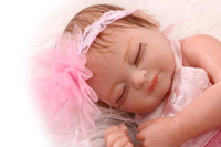Wholesale Adorable Reborn Baby Girl - 11'' Princess Baby dolls Full Body Silicone Adorable Lifelike Pink Girl with Flower Hairband Baby Bonecas kid bebe doll reborn