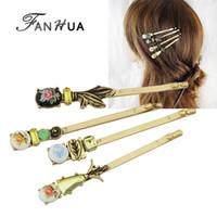 Wholesale Vintage Style Barrettes - FANHUA 4pcs set Hair Jewelry Vintage Style Antique Gold-Color Colorful Flower Pattern Barrettes Hairwear Hair Accessories