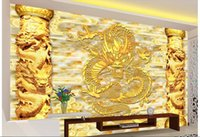 3d wallpaper benutzerdefinierte foto vlies wandbild Golden China Dragon Relief spalte decor malerei bild 3d wand muals tapeten für w ... 3 d