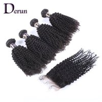 Wholesale Top Piece Hair Extensions Wholesale - Virgin Hair Extension High Quality Top Closure 4pcs+1pc Kinky Curly Remy Hairs Peruvian Human Hair With Closure Hair Weave Can Be Dyed