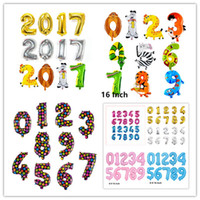 Wholesale Foil Banner - 10PC 16 inches Gold Silver Pink Blue Number Foil Balloons Digit Air Ballons Birthday Party Banner Wedding Decor Baloons Event Party Supplies