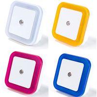 Wholesale Plug Mini Night Lights - EU USA AU Plug Mini LED 0.5W Night Light Control Auto Sensor Bedroom Lamp Square AC110-220V LED Night Light For Baby